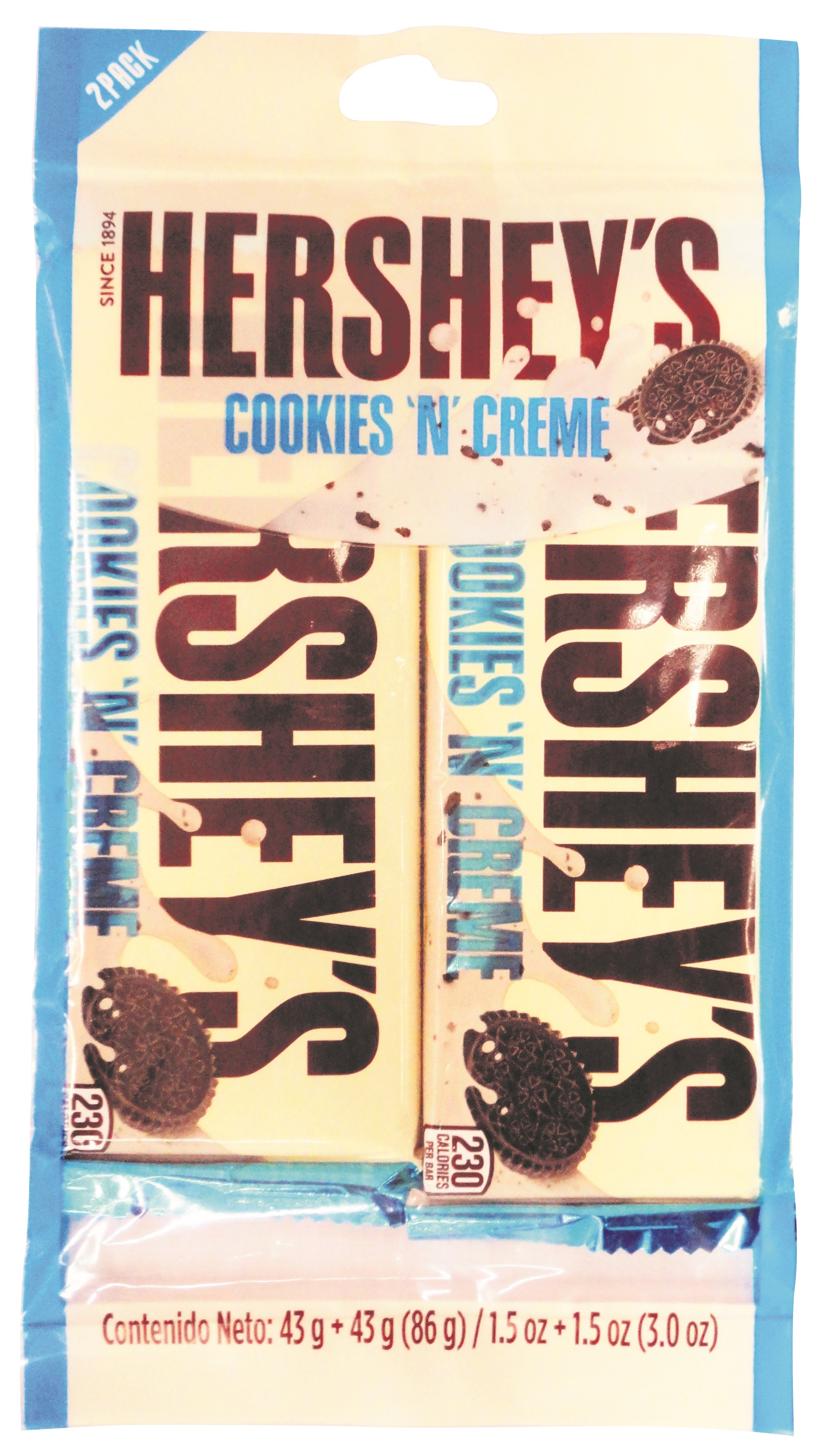 Chocolatina Hersheys Cookies n Creme 43g x2