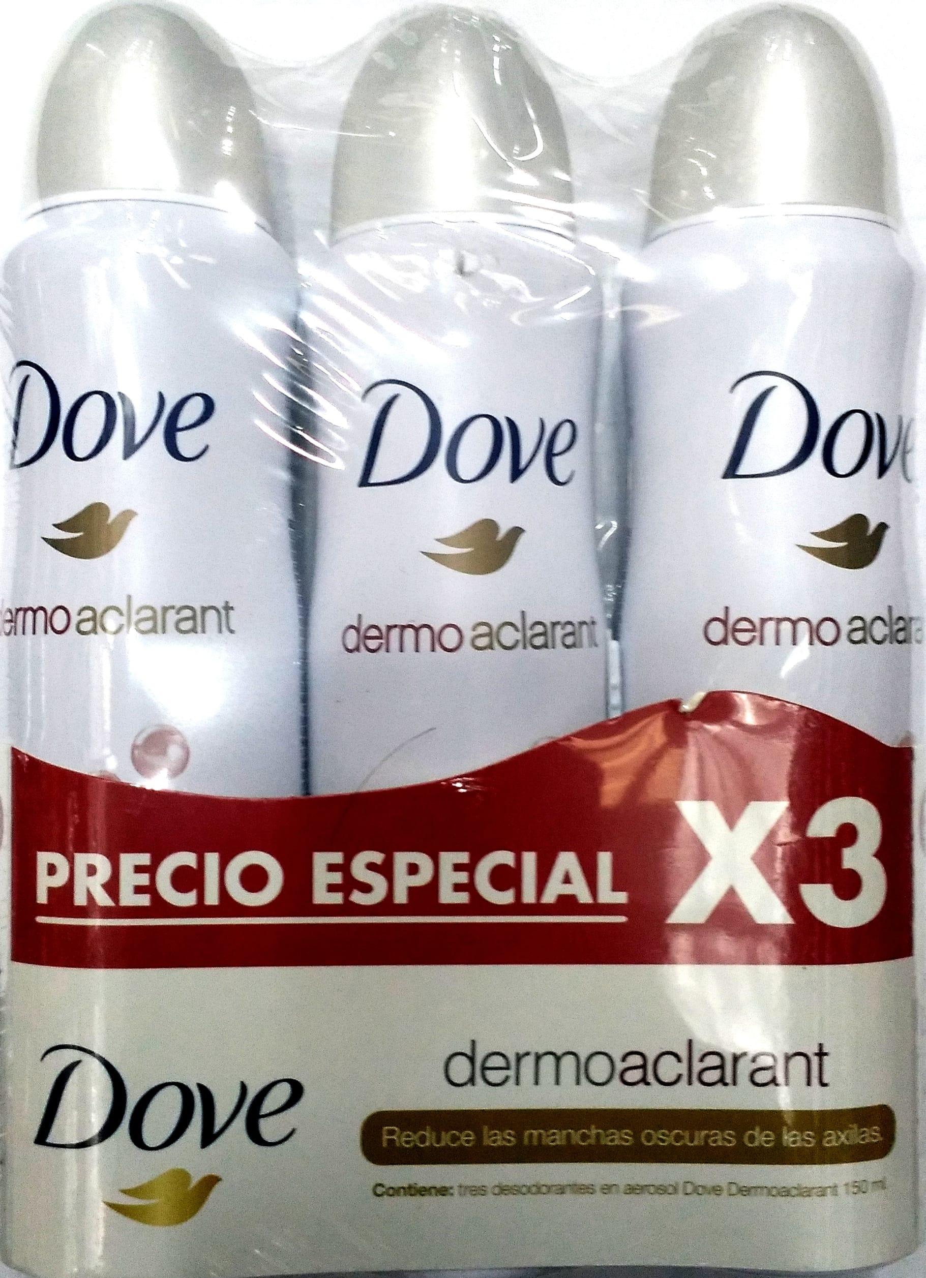 Desodorante Aerosol Dove Dermo Aclarant 150mlx3