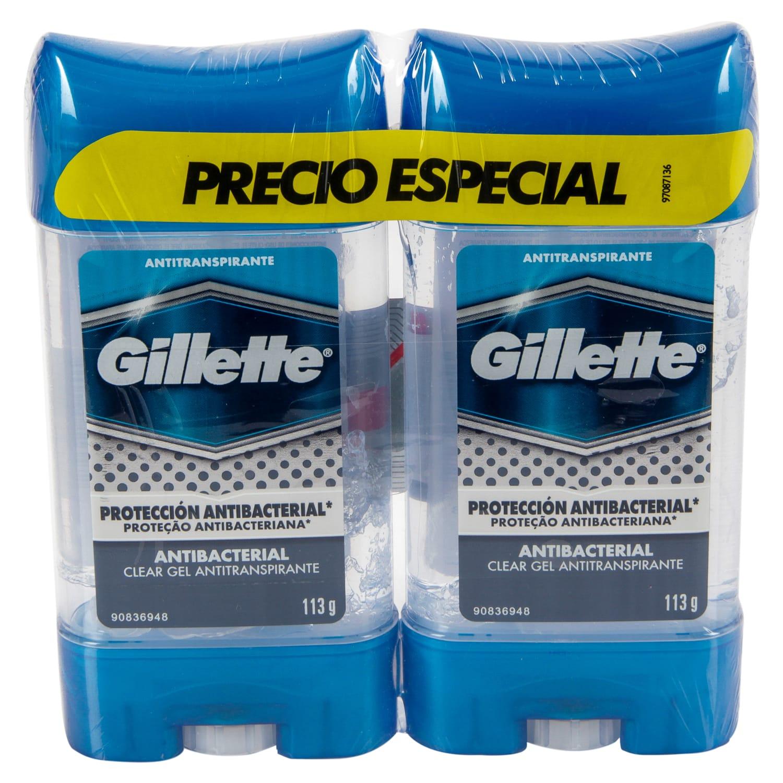 Desodorante gel Gillette Antibacterial 113gx2pe