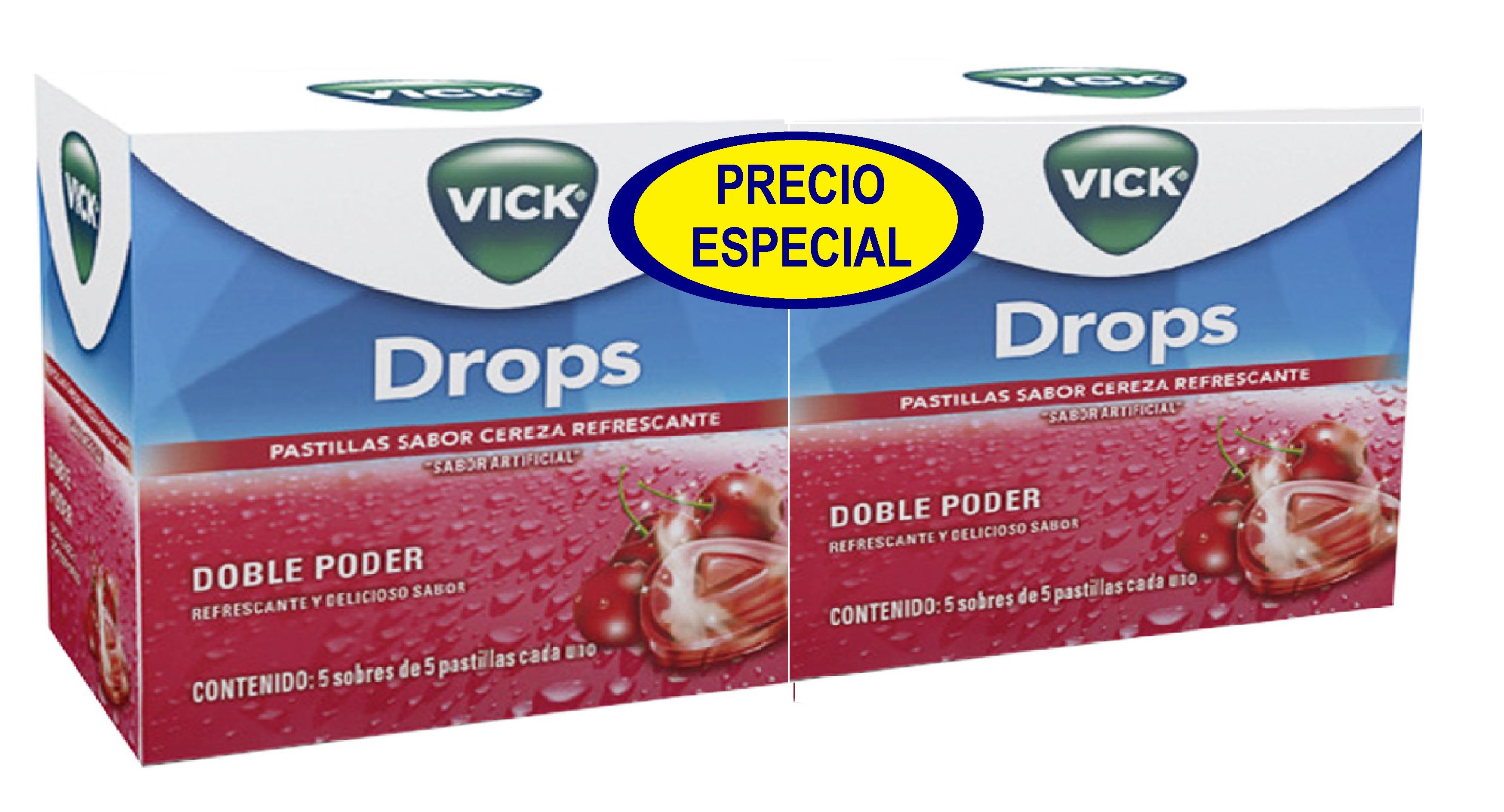 Drops Vick Cereza 5 Sobres x2