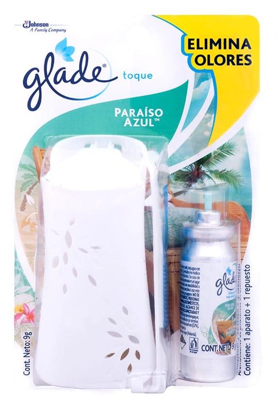 Ambientador Toque Glade Paraiso Azul 9g Aparato