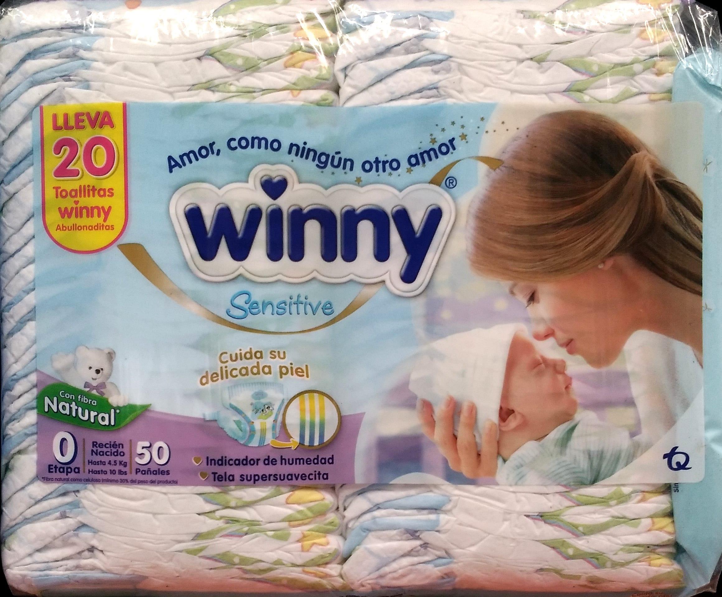 Pañal Winny Sensitive Recien Nacido x50 Toallitas Húmedas