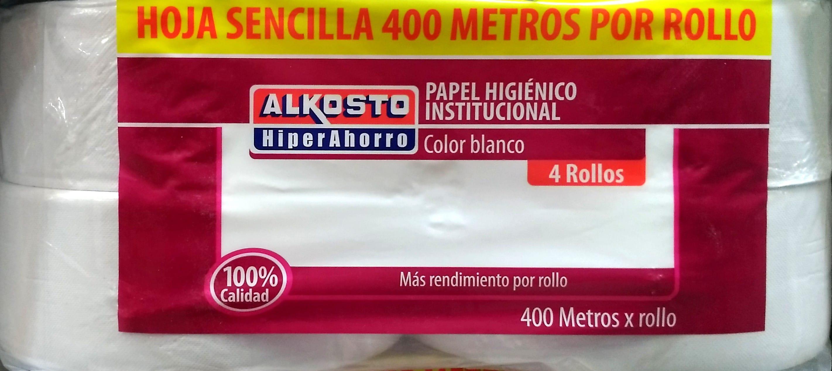 Paoel Higiénico Alkosto Institucional Blanco Hoja Sencilla 400mt x 4 Rollos