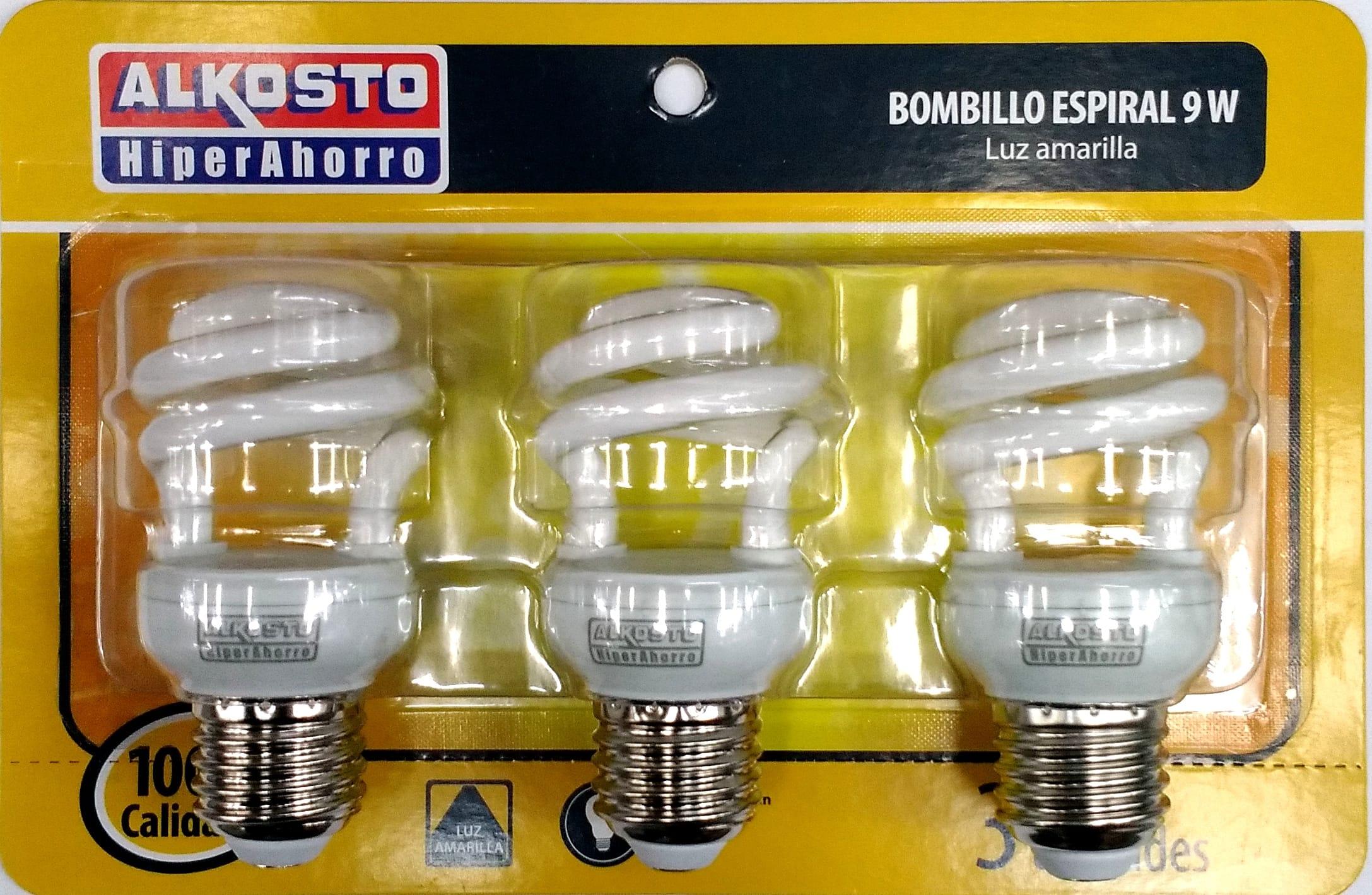 Bombillo Espiral Alkosto 9w luz Amarilla bli x3