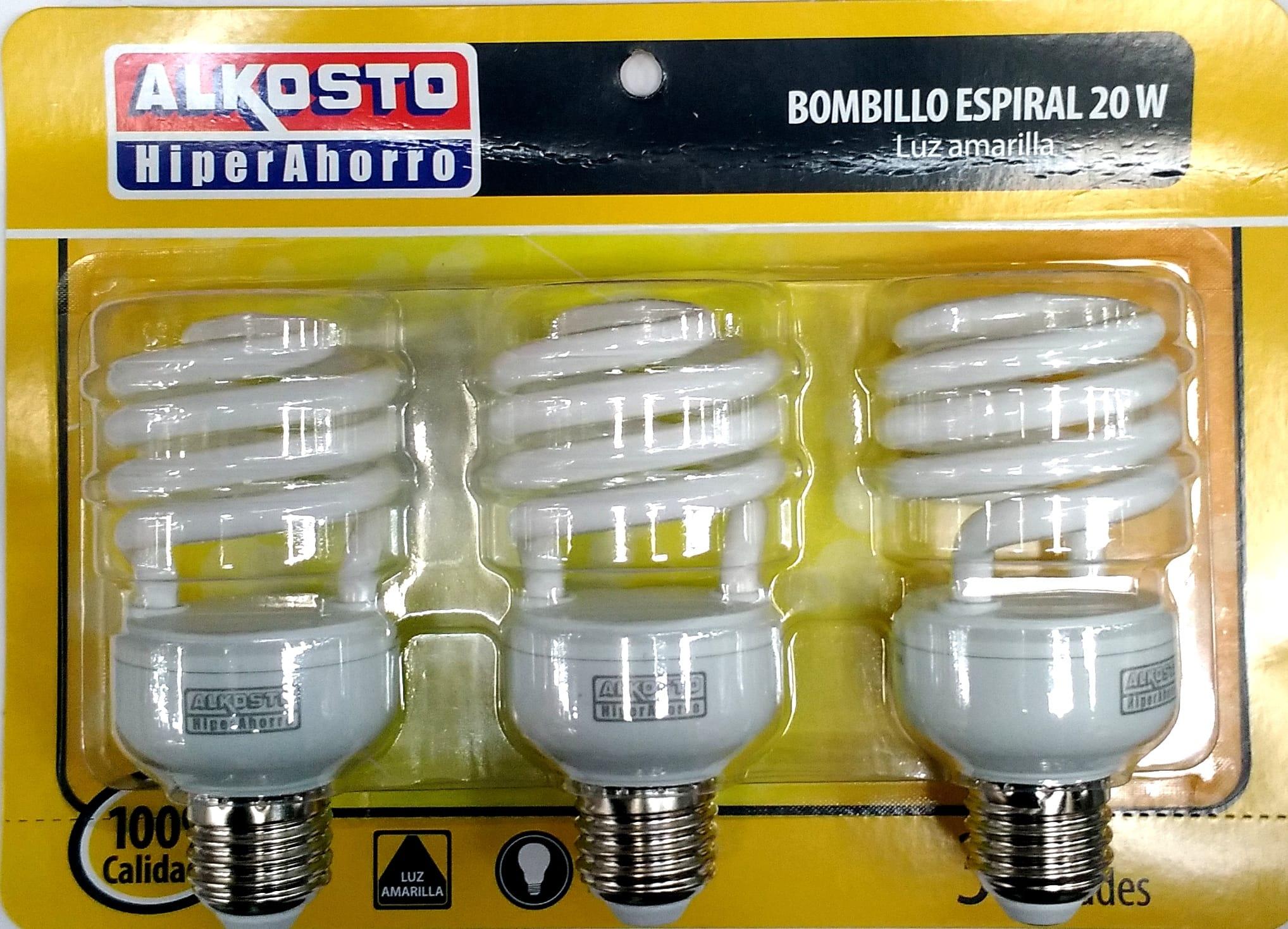 Bombillo Espiral Alkosto 20w luz Amarilla Blix3