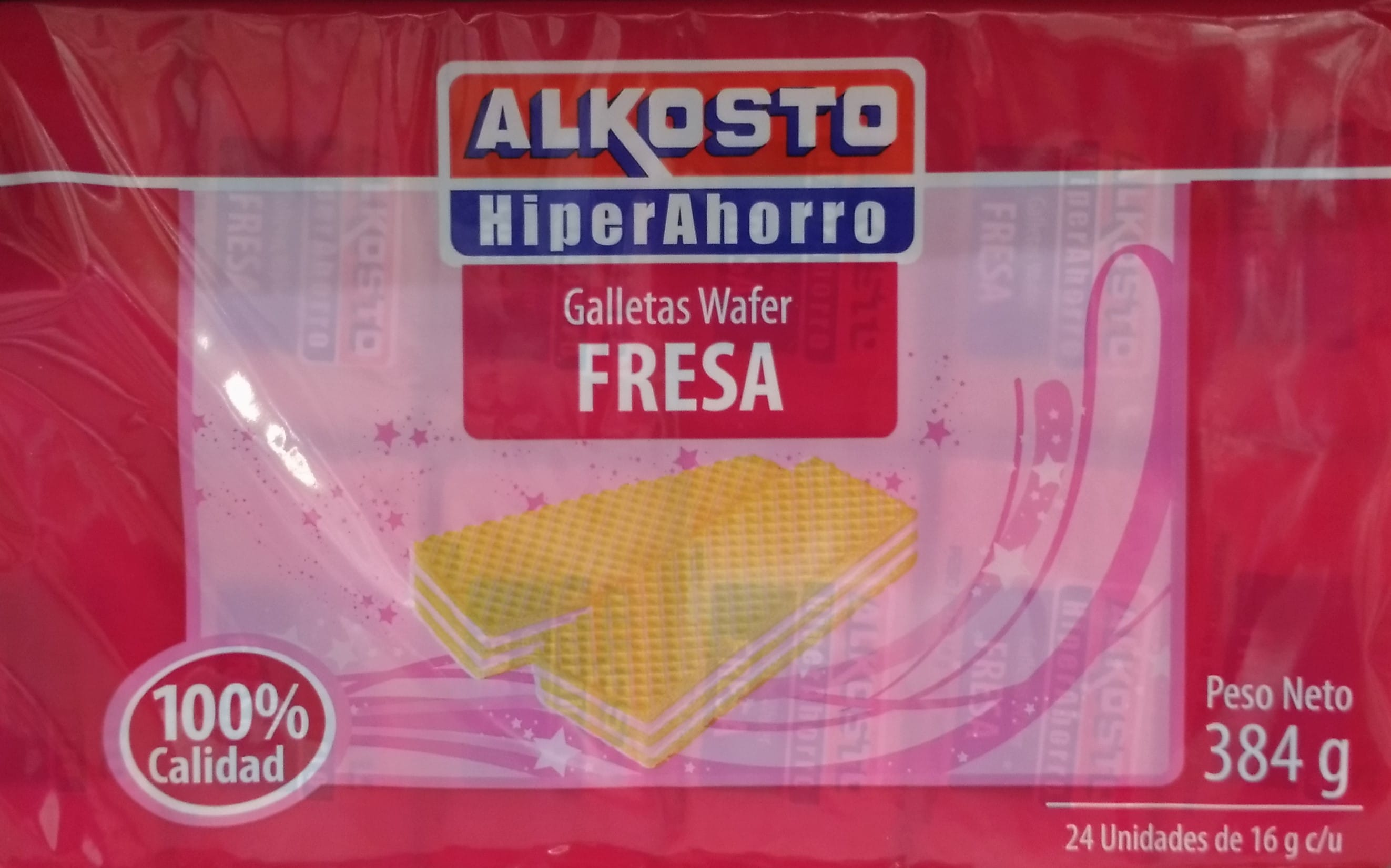 Galletas Wafer Fresa Alkosto 16g x24