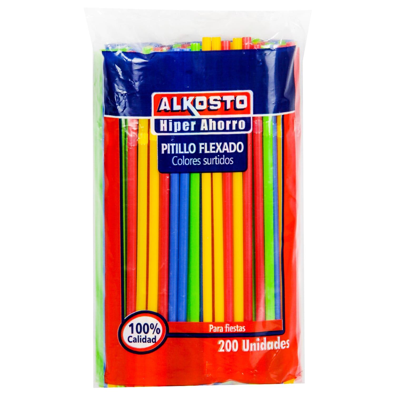 Pitillos Flexado Colores Alkosto 200u