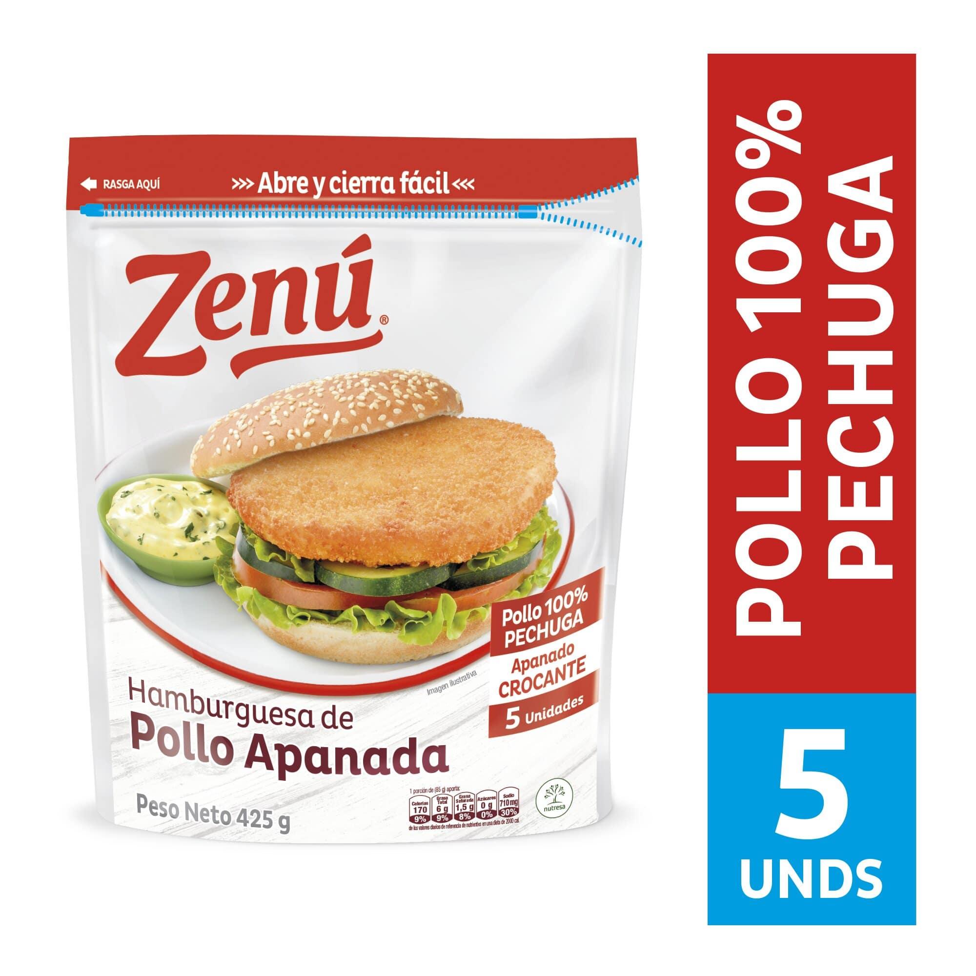 Hamburguesa Pollo Apanado Zenu 425g