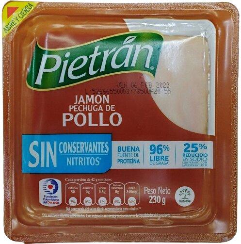 Jamón Pechuga de Pollo Pietrán sin Conservantes 230g