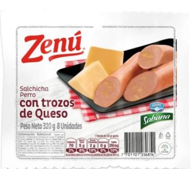 Salchicha Perro con Trozos de Queso Zenu x 320g