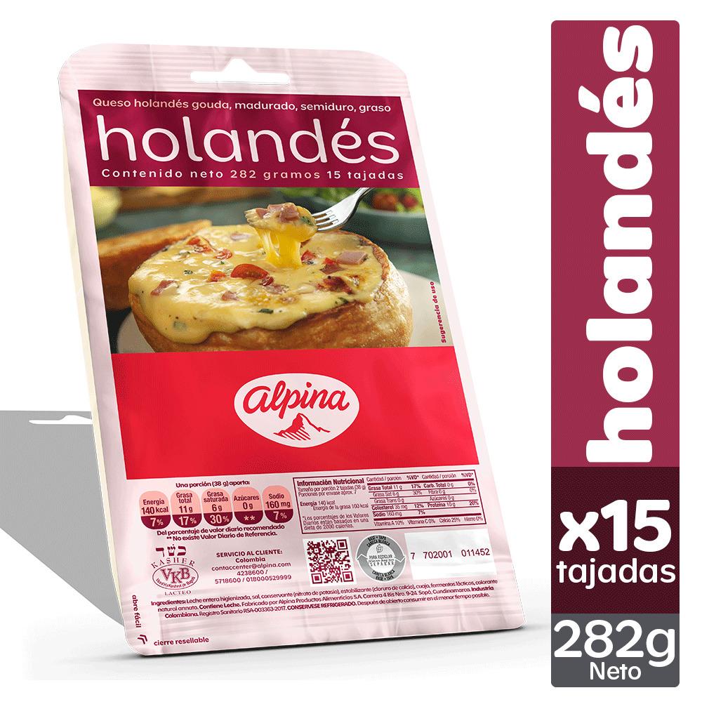 Queso Alpina Holandes Tajado x 15 282g