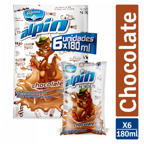 Leche Saborizada Alpina Bolsa Chocolate 180ml x6u