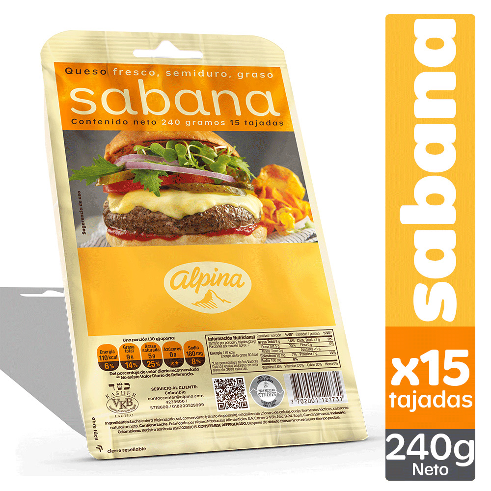 Queso Alpina Sabana Tajado x15 240g