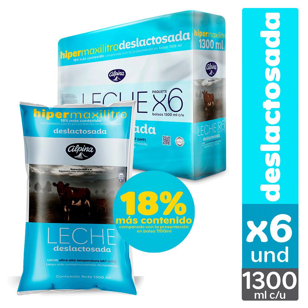 Leche Alpina Deslactosada Bolsa 1 3l x6u