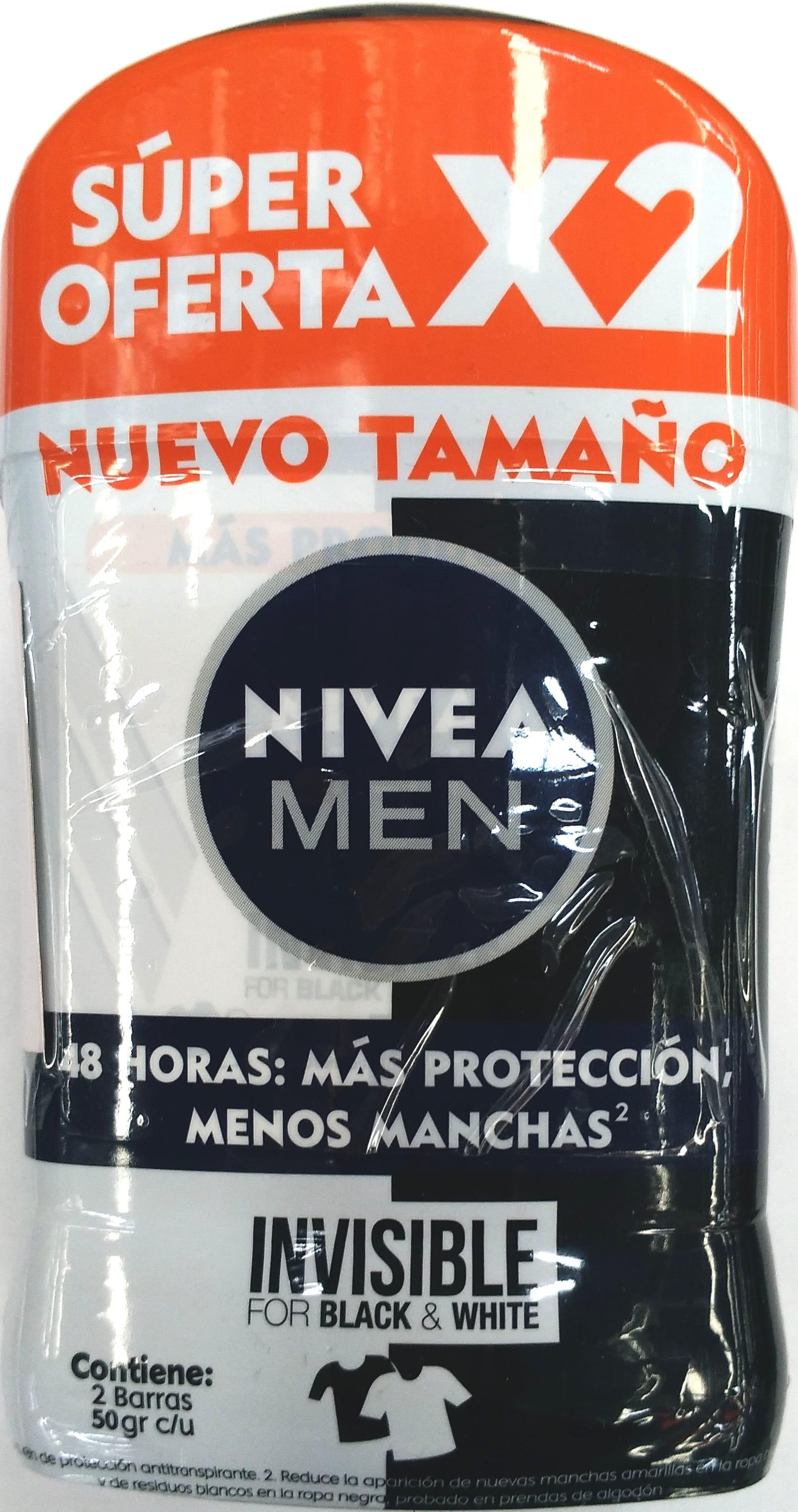 Desodorante Barra Nivea men Black & White 43gx2