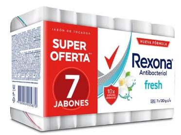 Jabón Tocador Rexona Antibacterial Fresh 120gx7