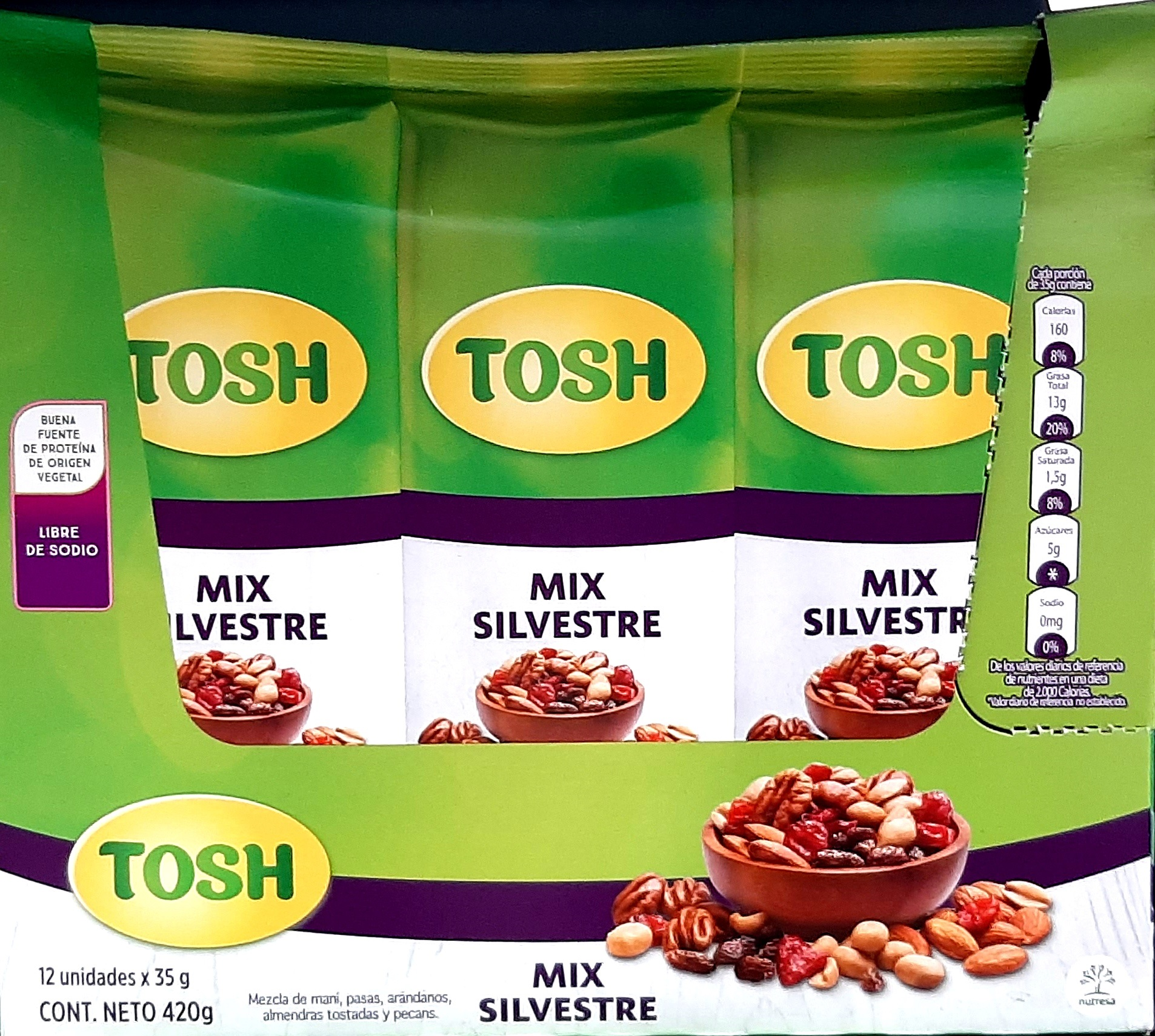 Pasabocas Tosh mix Silvestres x12 420g