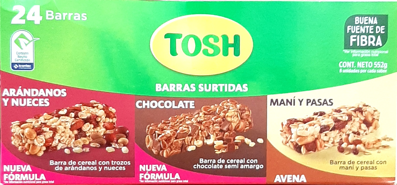 Barra Tosh Arandanos y Nueces Chocolate Maní y Pasas X24u 552g