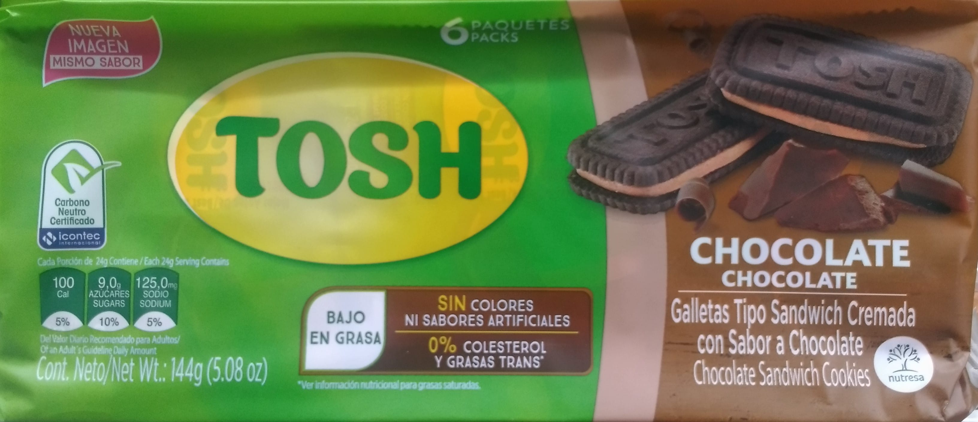 Galletas Tosh Crema Chocolate 24g x6