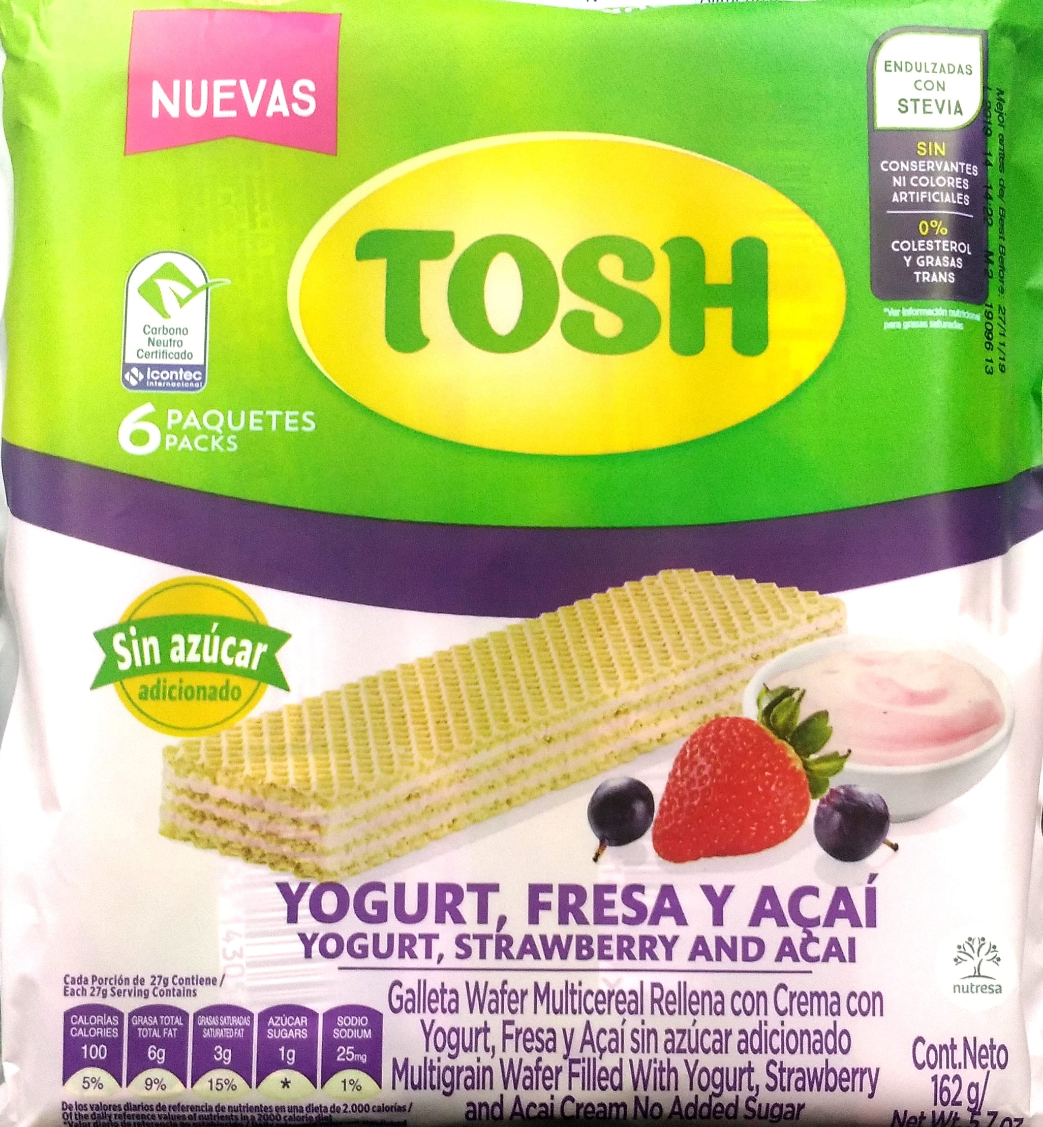 Galletas Tosh Wafer Yogurt Fresa y Acai x6u 162g