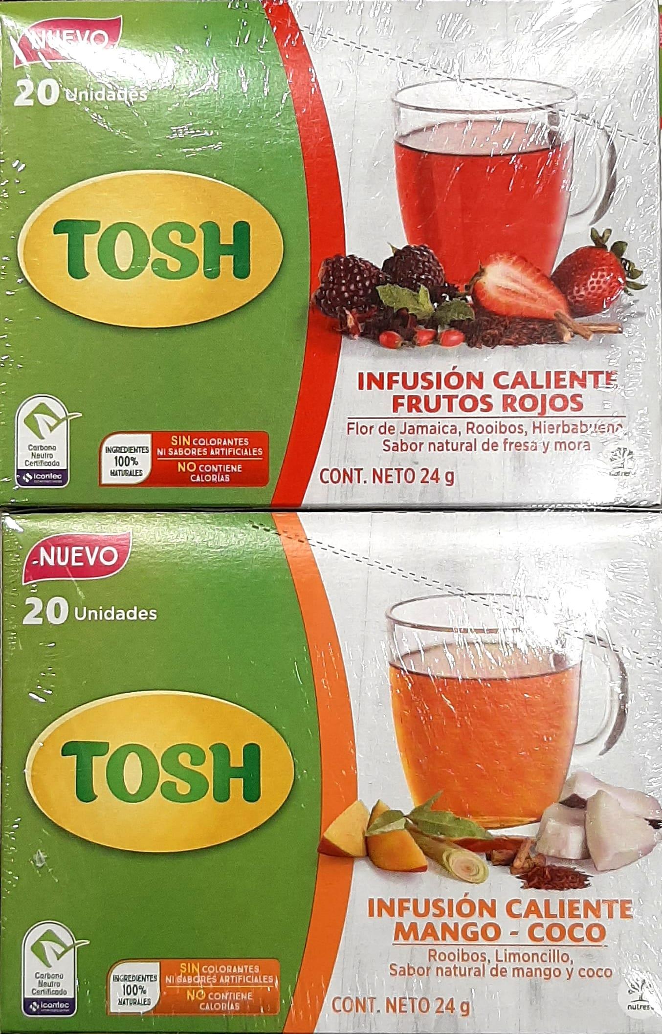 Infusión Tosh Frutos Rojos Mango Coco X40u 48g