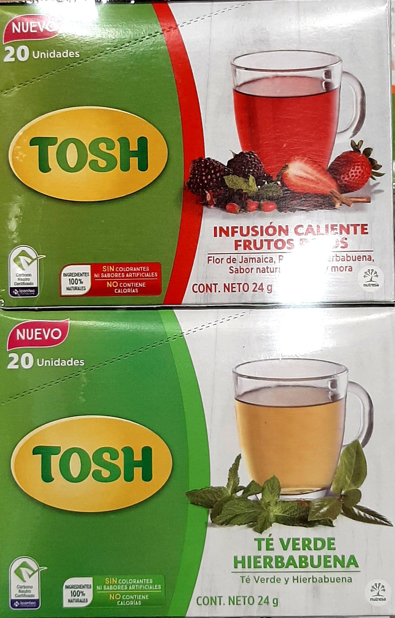 Infusión Tosh Frutos Rojos y te Verde X40u 48g