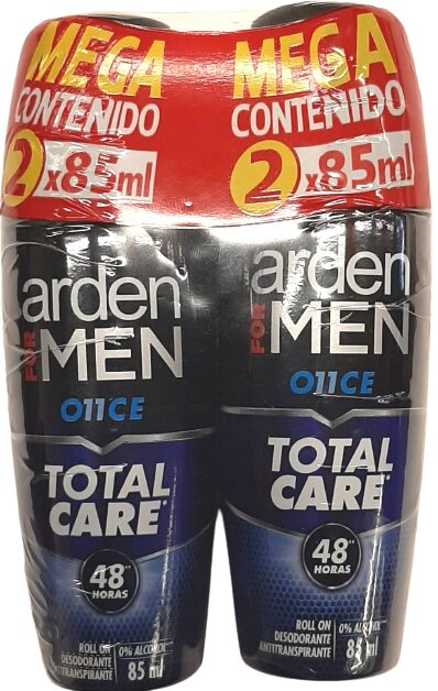 Desodorante Roll on Arden for men Total Care 85ml x2