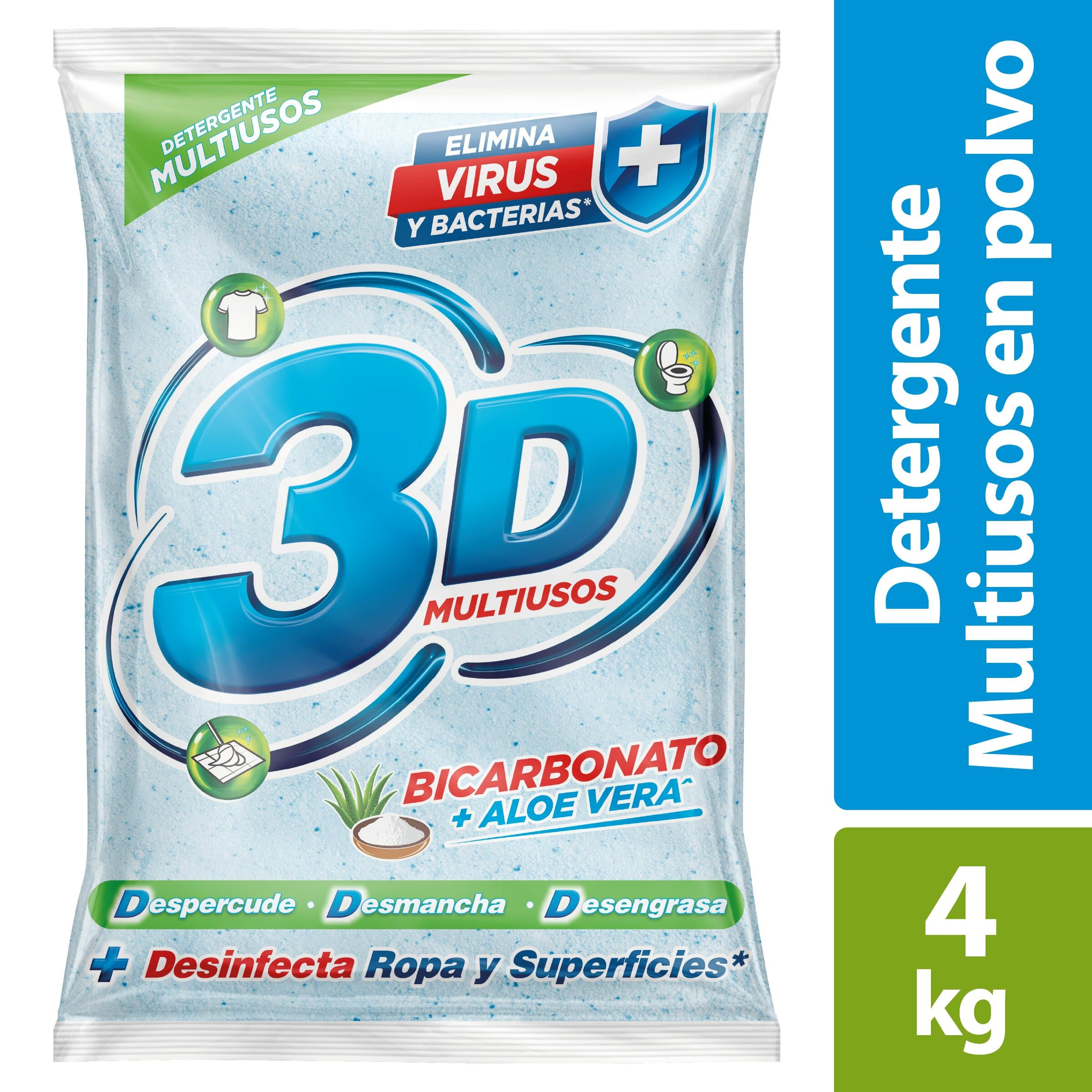 Detergente Polvo 3d Profesional Multiuso 4kg