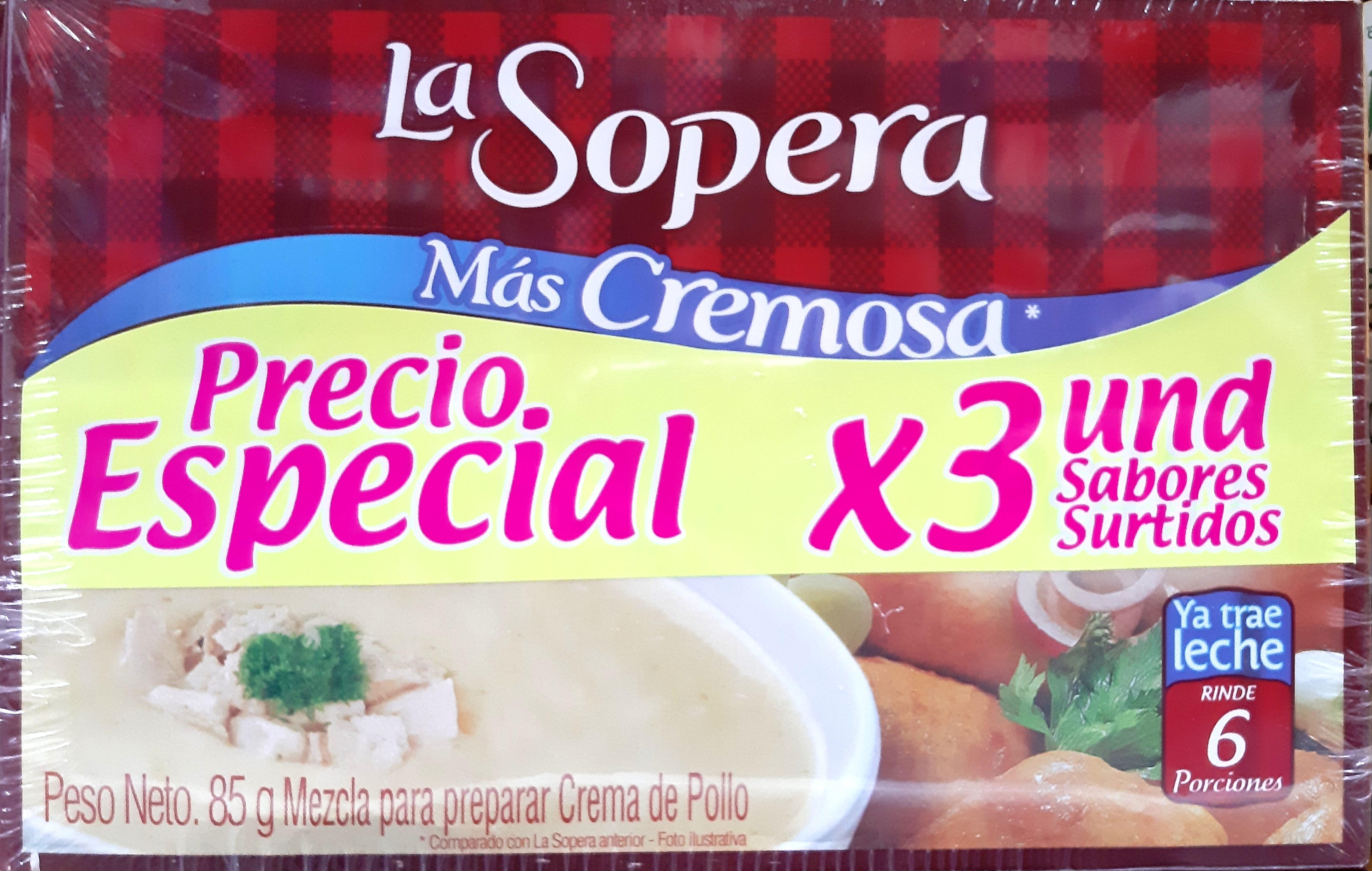 Crema Lasopera Sabores Surtidos x3u 257g pe