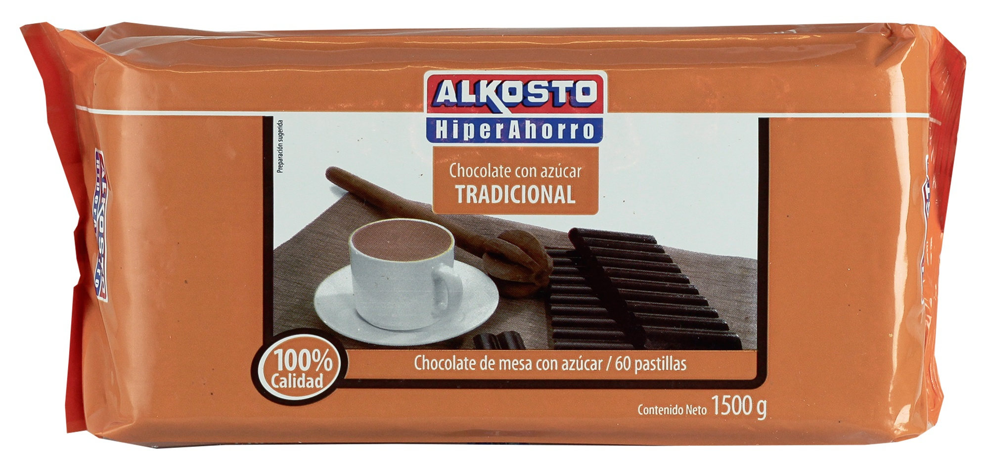 Chocolate con Azucar Tradicional Alkosto x60 1500g