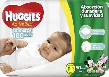 Pañal Huggies Active sec Primeros 100 Días x50