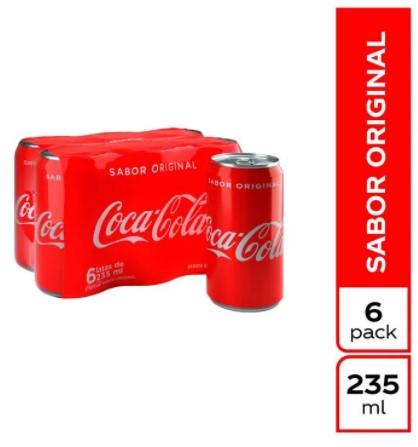 Gaseosa Coca Cola Lata 235ml x6u