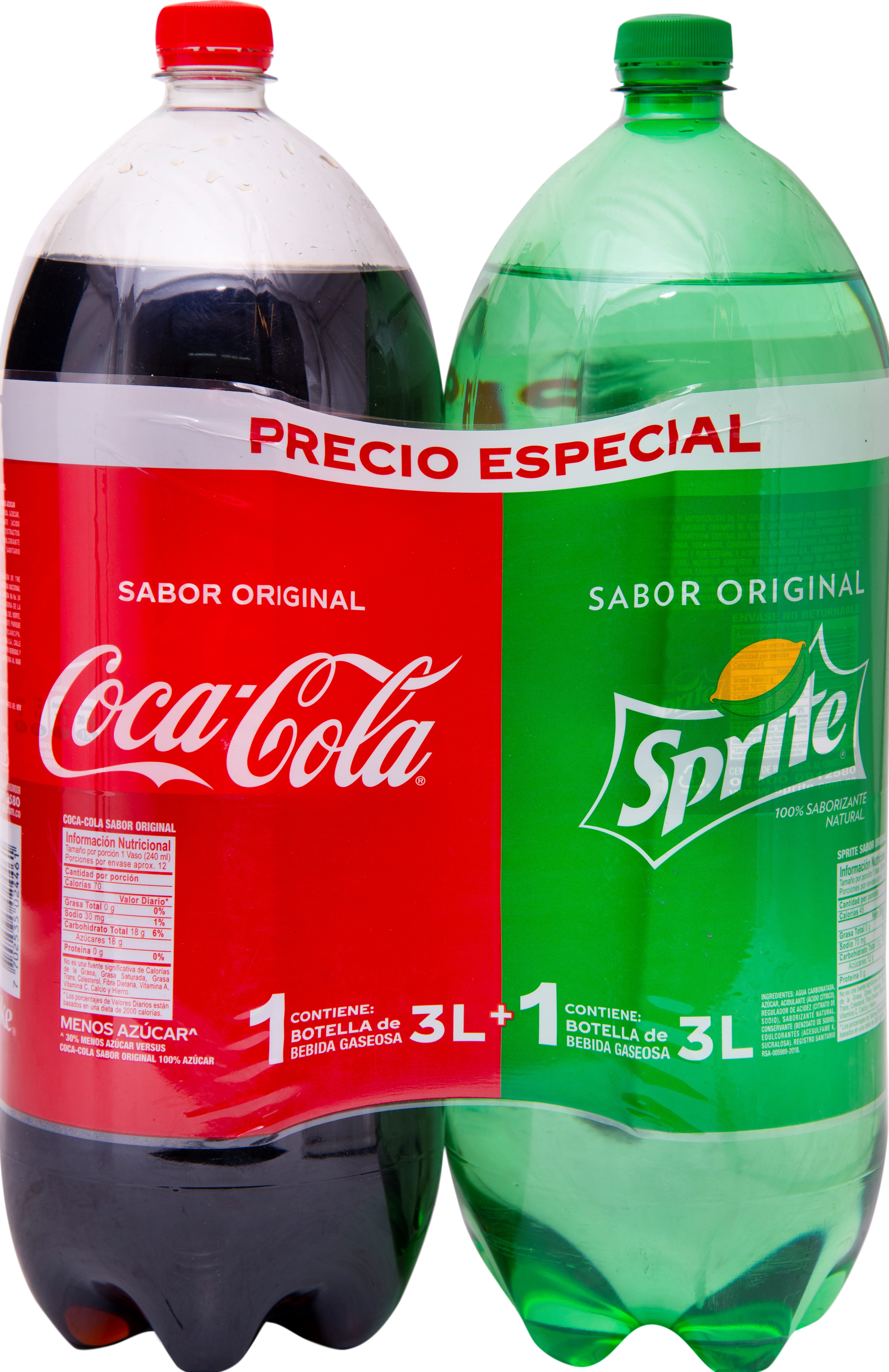 Gaseosa Cocacola Sprite 3l x2u