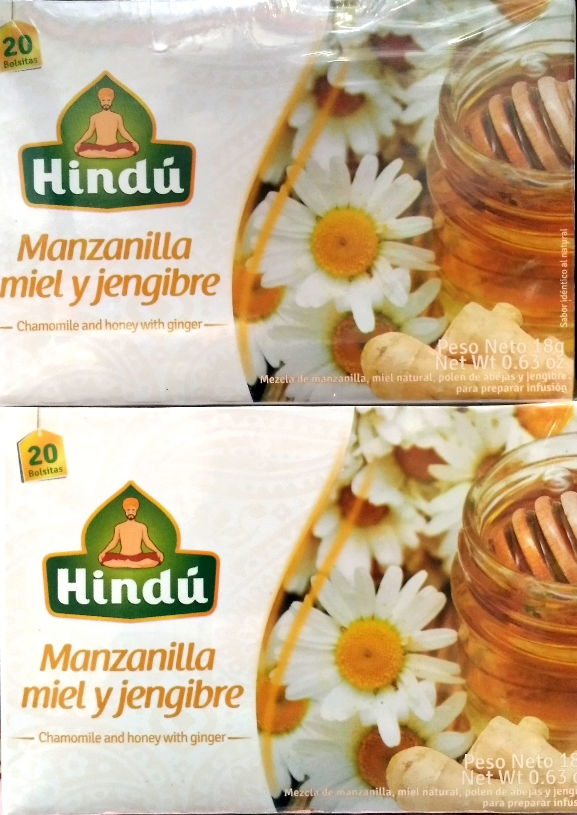 Infusion Hindu Manzanilla Miel y Jengibre 20u x2 36g