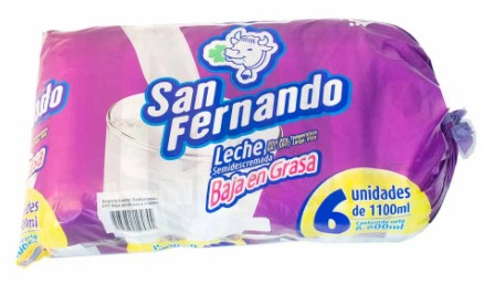Leche san Fernando Baja en Grasa 1100 ml x 6 und