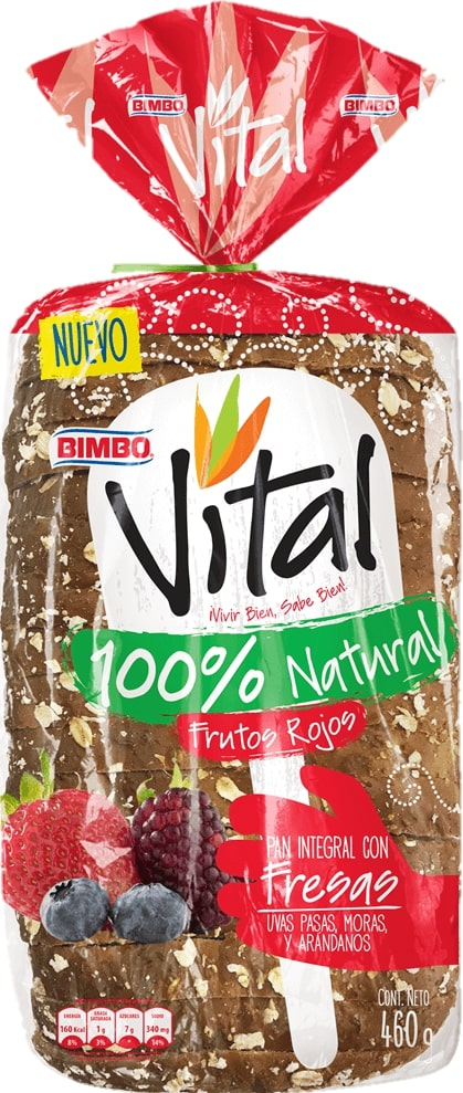 pan Bimbo Vital Frutos Rojos 460g