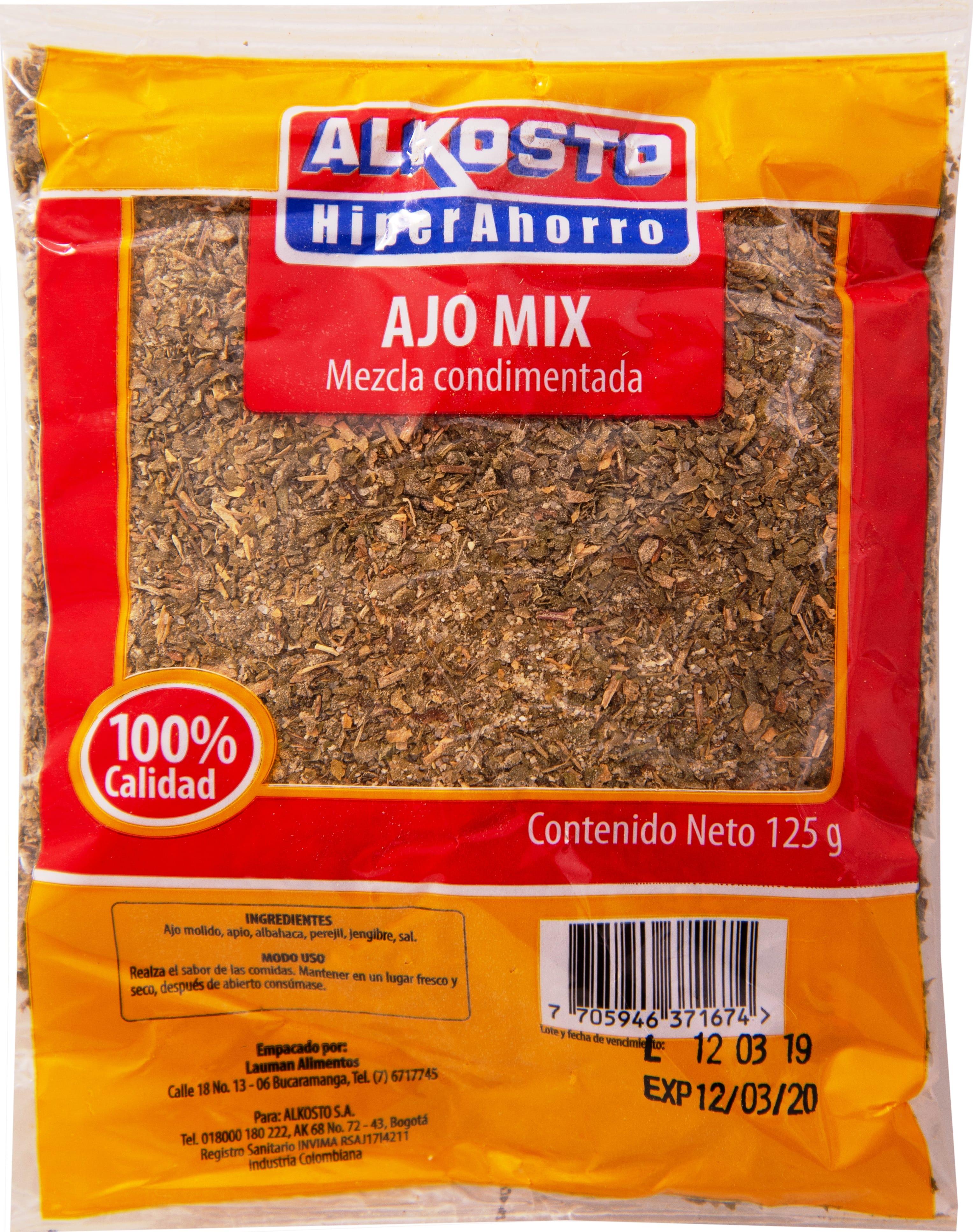 Condimento Alkosto ajo mix 125g
