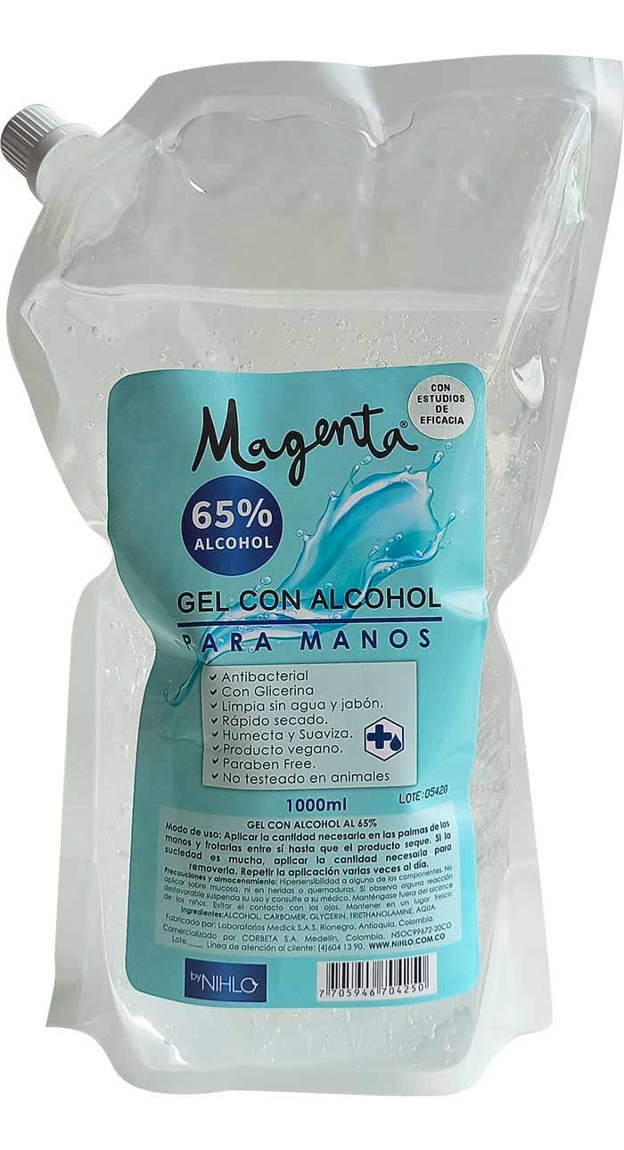 Antibacterial gel 65 Alcohol Magenta Repuesto 1l
