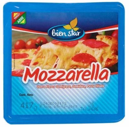 Queso Bienstar Mozzarella Tajado 417g