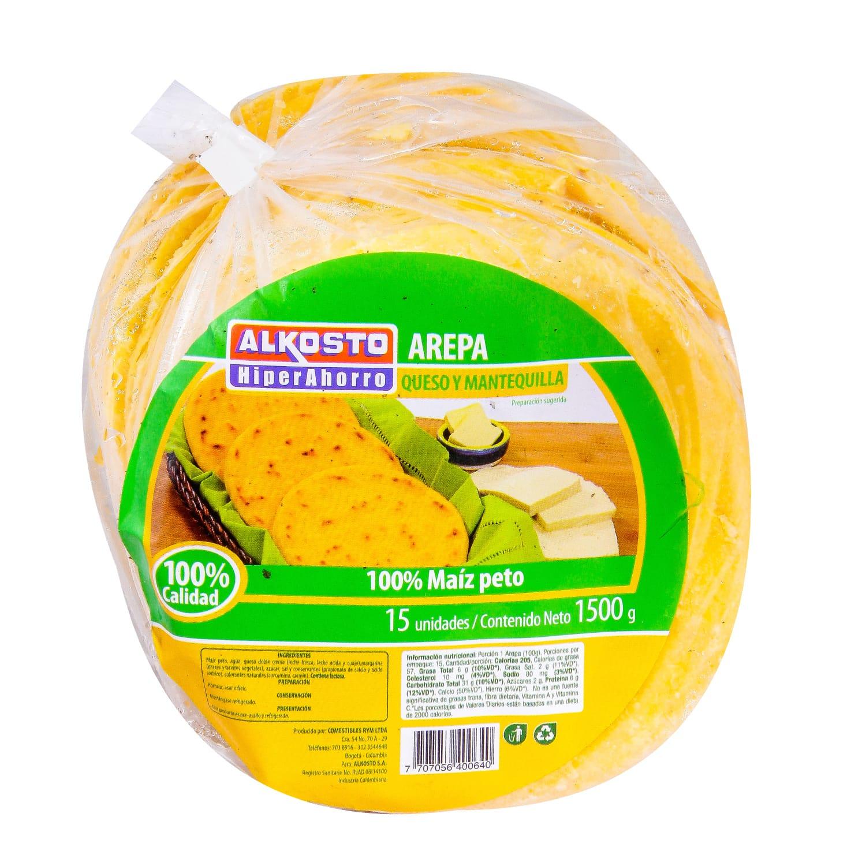 Arepa Queso y Mantequilla Alkosto 1500g 15u