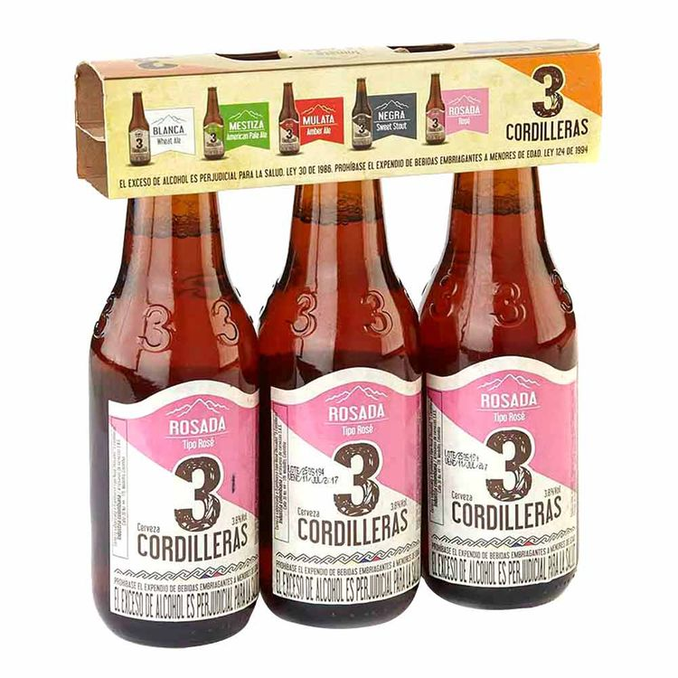 Cerveza Tres Cordilleras Rosada 330mlx3