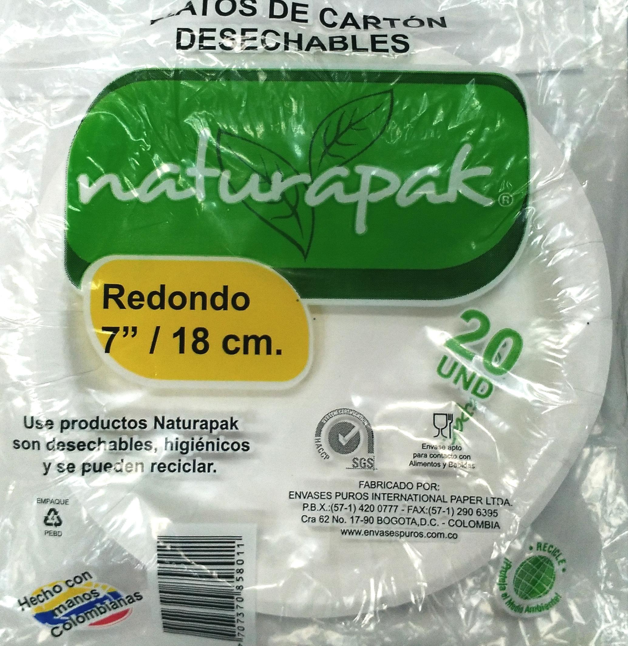 Plato Naturapack Redondo 18cmx20